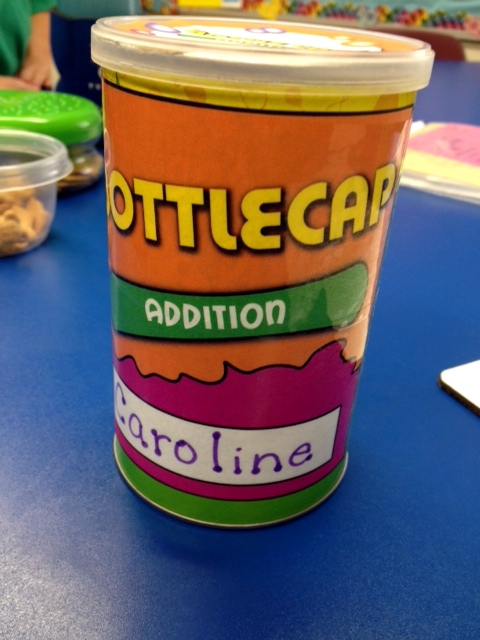 Math Facts Bottle Cap Recycling Activity