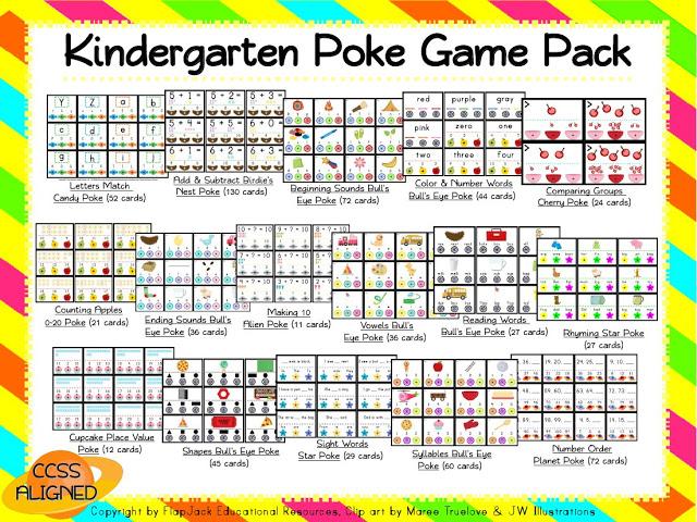 Kindergarten Common Core Poke Game Pack
