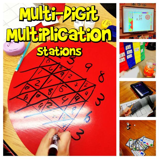 Multi-Digit Multiplication Math Stations
