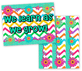 Chevron Flower Bulletin border and Poster FREEBIE and Pack