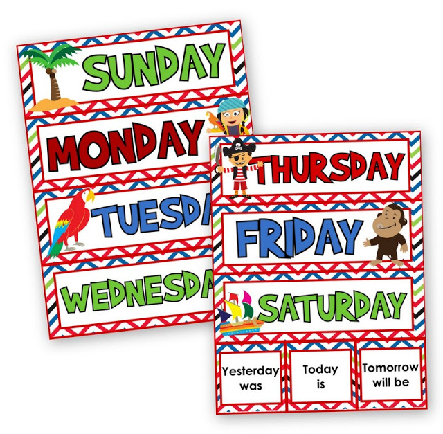 Pirate Themed Days of the Week FREEBIE and New Classroom Materials Pack
