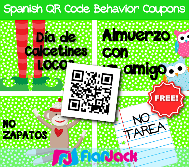 FREE Spanish QR Code Behavior Coupons