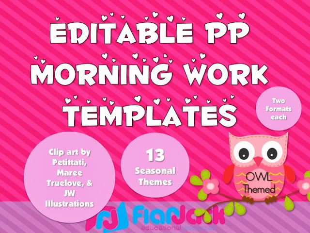 Giveaway 10 owl themed morning work powerpoint templates packs toneelgroepblik Image collections