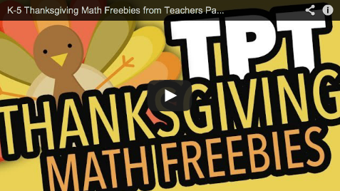 Thanksgiving Math Center Freebies from TpT on YouTube
