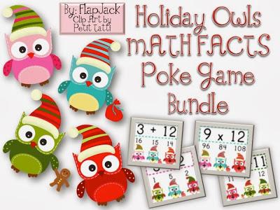 Holiday Christmas Owl Math Facts Bundle
