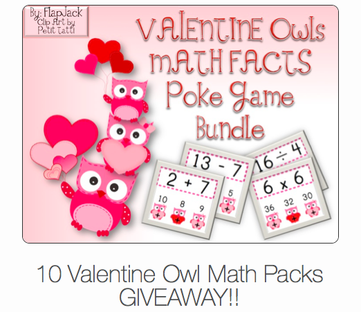 Valentine Owls Math Facts Bundle Giveaway!!