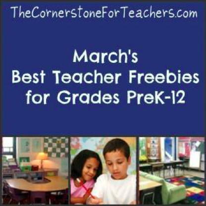 http://thecornerstoneforteachers.com/2014/03/best-teacher-freebies-march.html