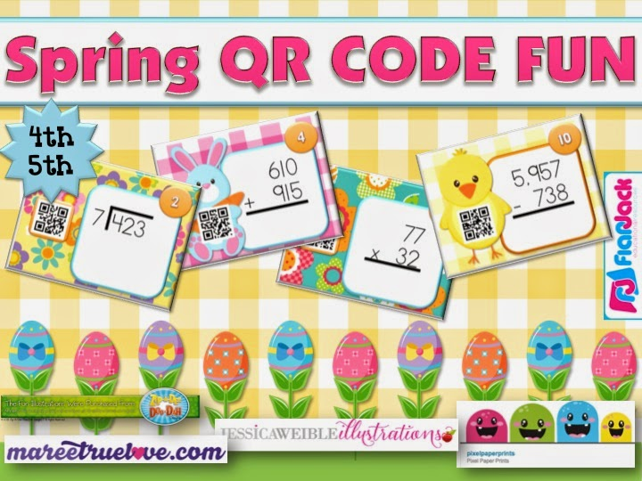 Spring QR Code Math Bundle GIVEAWAY at My Facebook Page!