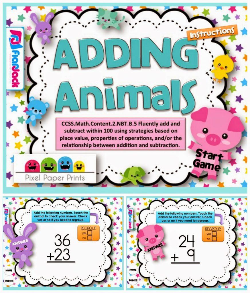 http://www.teacherspayteachers.com/Product/Adding-Animals-Smart-Board-Game-CCSS2NBTB5-1232671