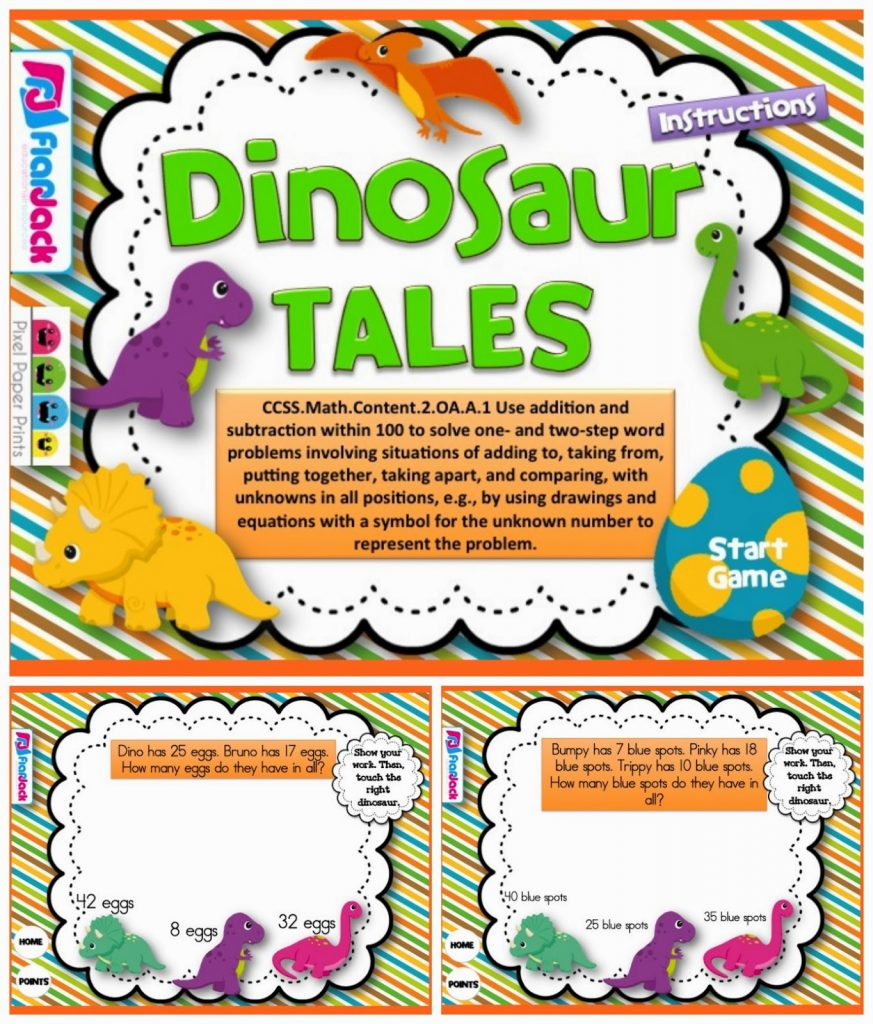 http://www.teacherspayteachers.com/Product/Dinosaur-Tales-Word-Problems-Smart-Board-Game-CCSS2OAA1-1232737