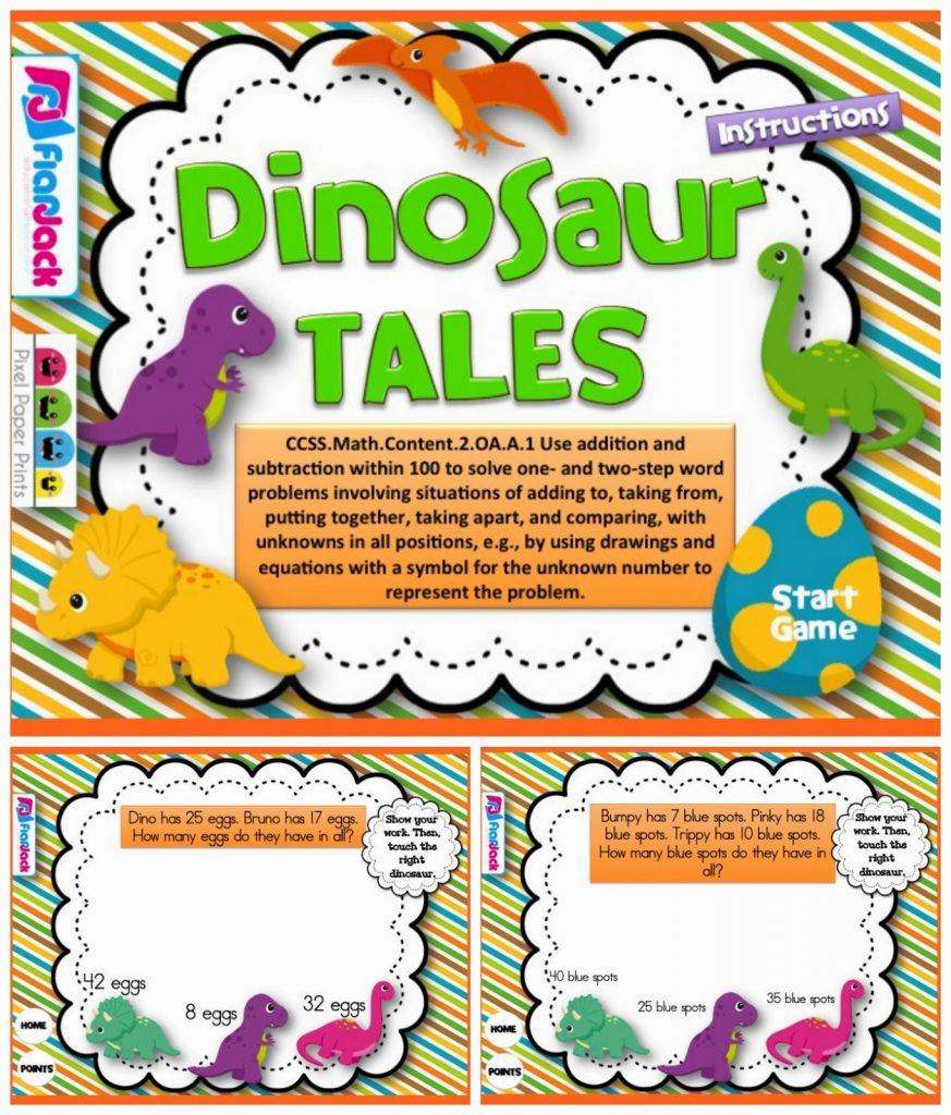 http://www.teacherspayteachers.com/Product/Dinosaur-Tales-Word-Problems-Smart-Board-Game-CCSS2OAA1-1232737