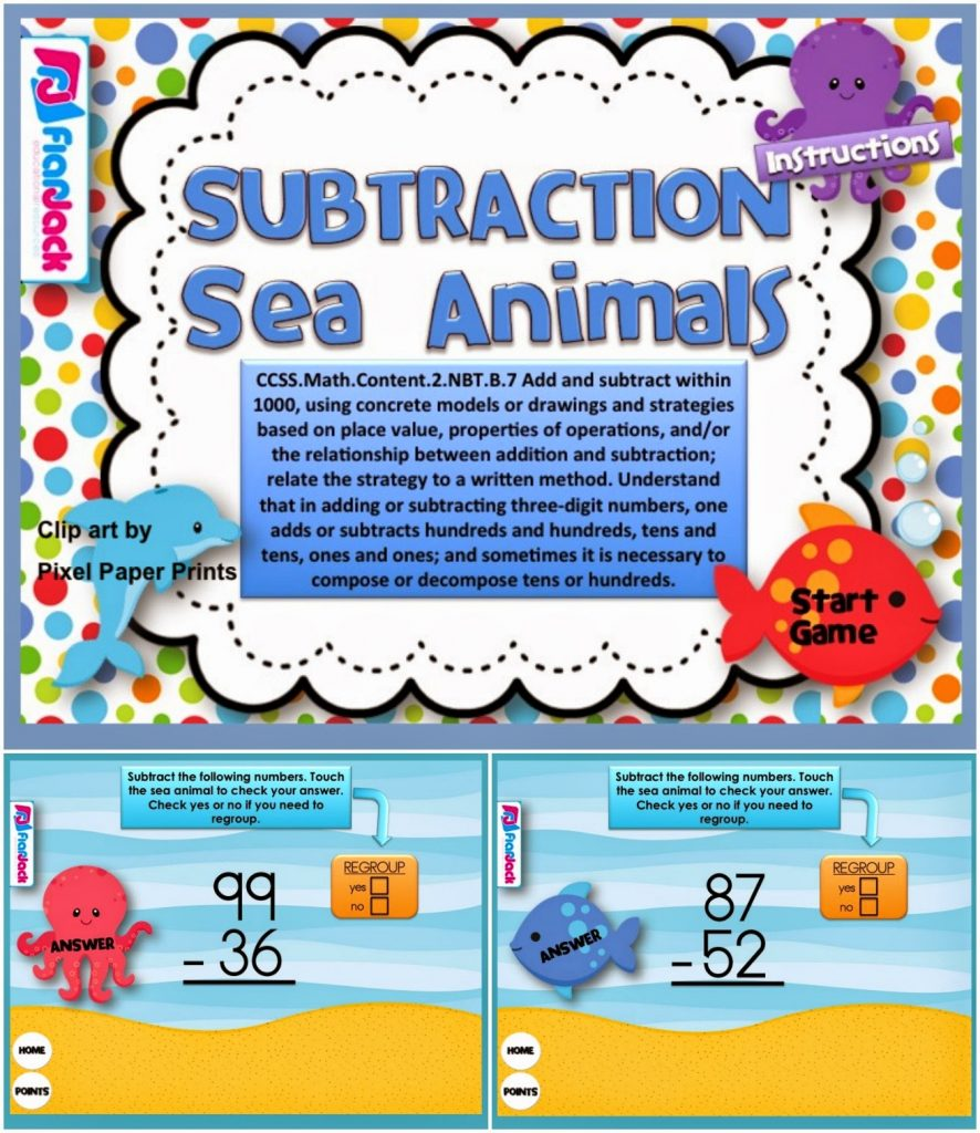 https://www.teacherspayteachers.com/Product/Subtraction-Sea-Animals-Smart-Board-Game-CCSS2NBTB7-1232923