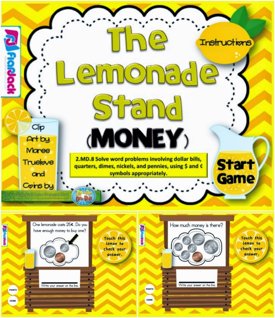 http://www.teacherspayteachers.com/Product/The-Lemonade-Stand-Money-Smart-Board-Game-CCSS2MD8-1232929