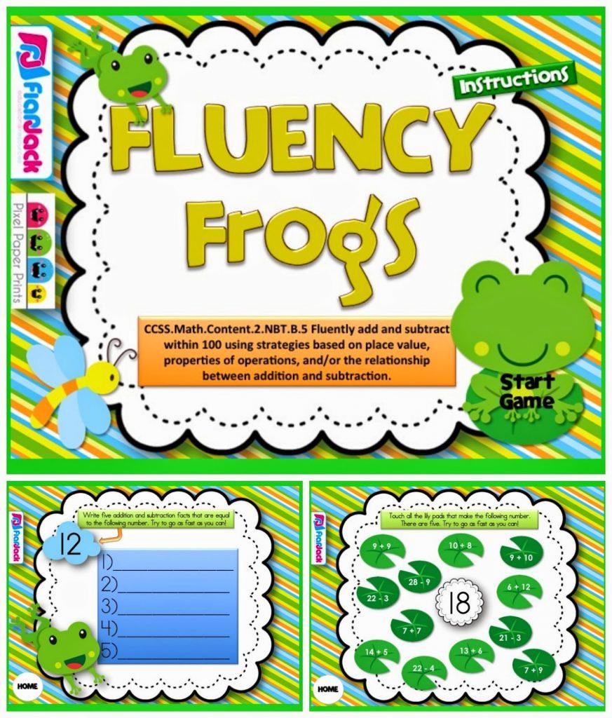 http://www.teacherspayteachers.com/Product/Fact-Fluency-Frogs-Smart-Board-Game-CCSS2NBTB5-1232752