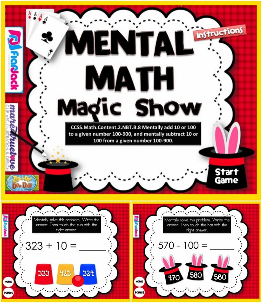 http://www.teacherspayteachers.com/Product/Mental-Math-Magic-Show-Smart-Board-Game-CCSS2NBTB8-1232806