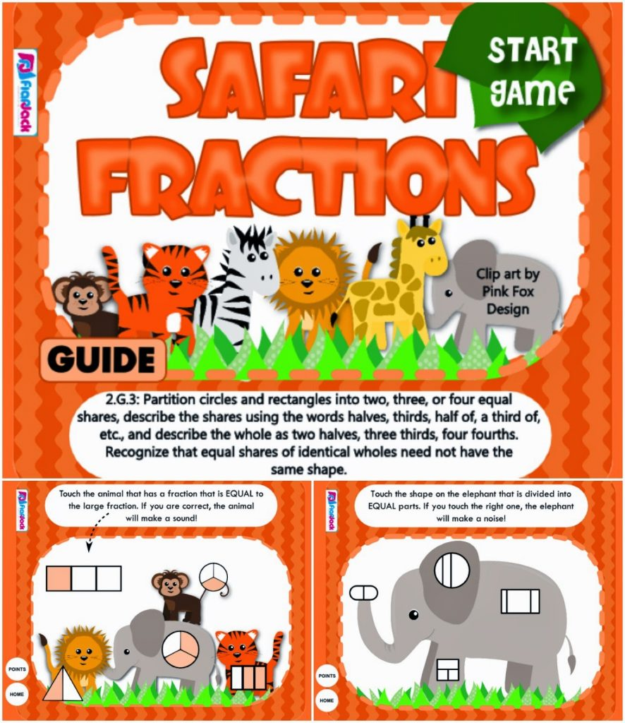 http://www.teacherspayteachers.com/Product/Safari-Fractions-Smart-Board-Game-CCSS2G3-1232898