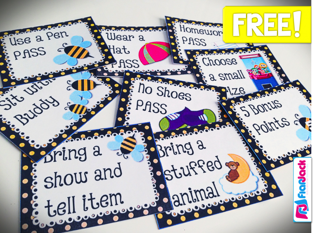 http://www.teacherspayteachers.com/Product/BEE-Themed-Behavior-Reward-Coupons-FREEBIE-1250736