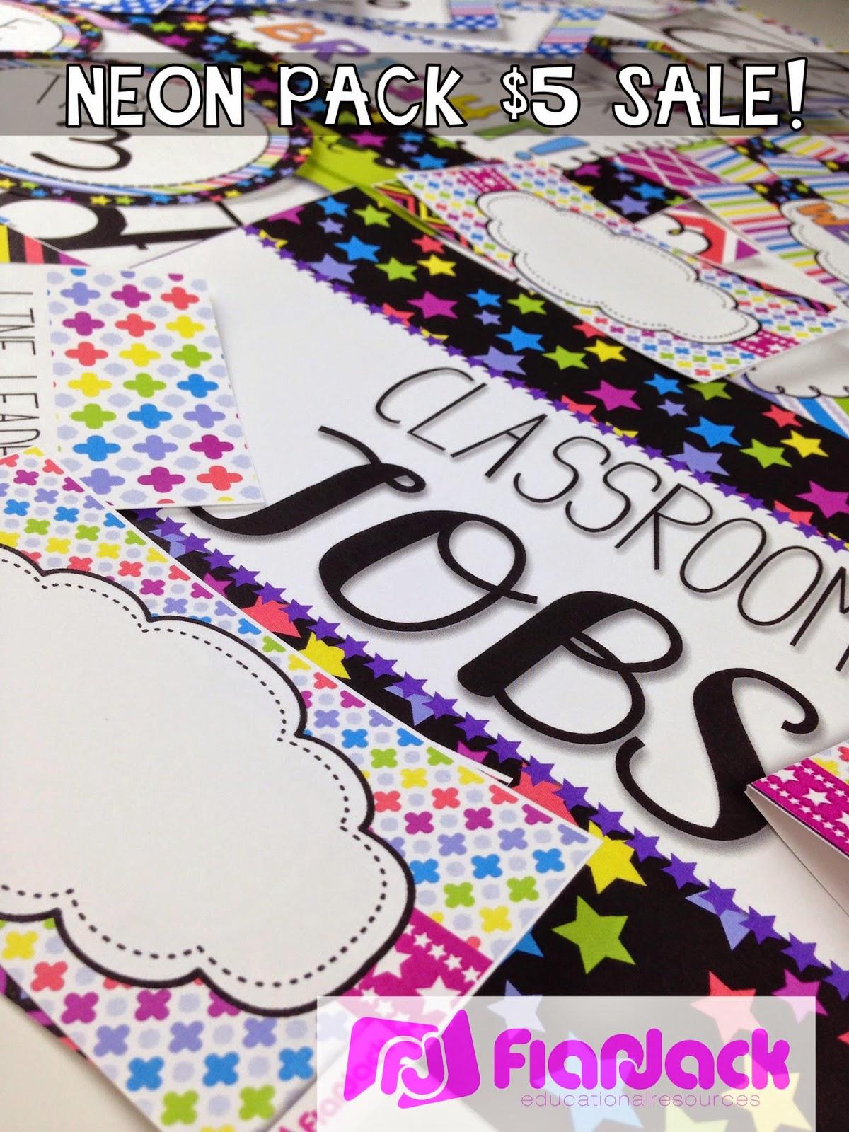 Classroom Decor For Sale ~ Neon classroom decor pack off sale