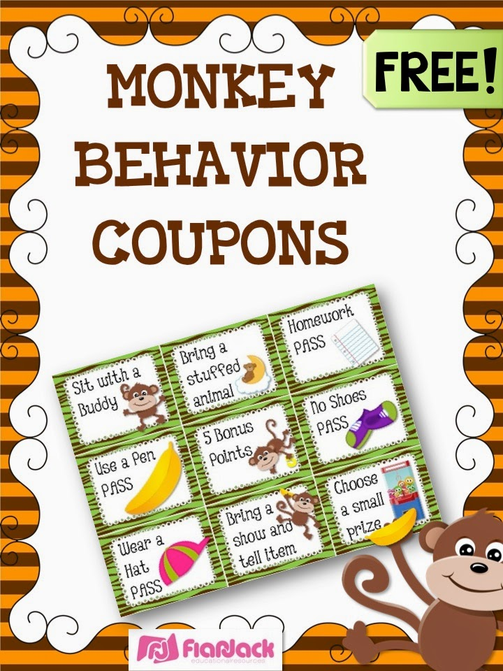 MONKEY Behavior Coupons Freebie, Ideas, & Classroom Decor Pack