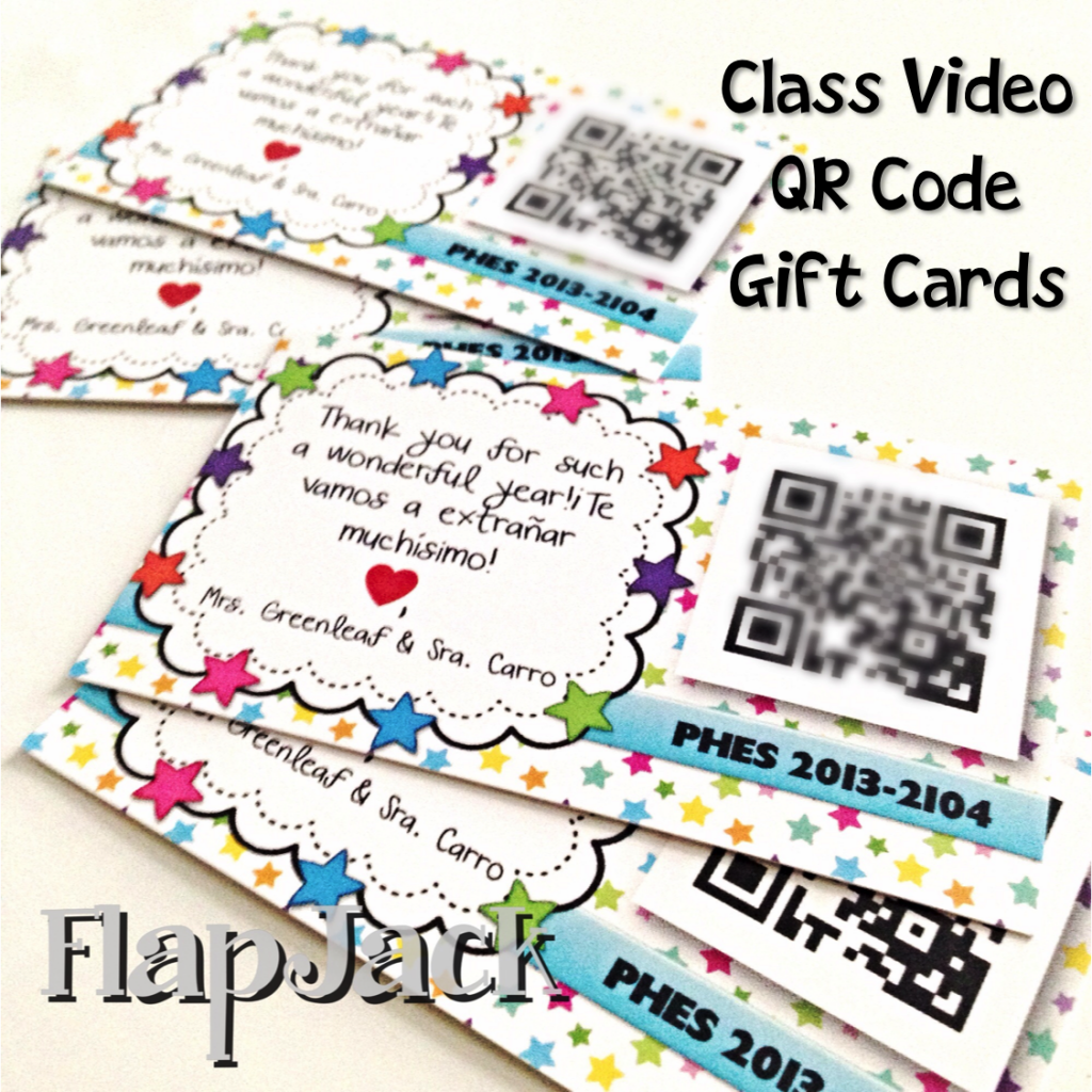 End of the Year Class Video QR Code Gift Cards & Freebie Template