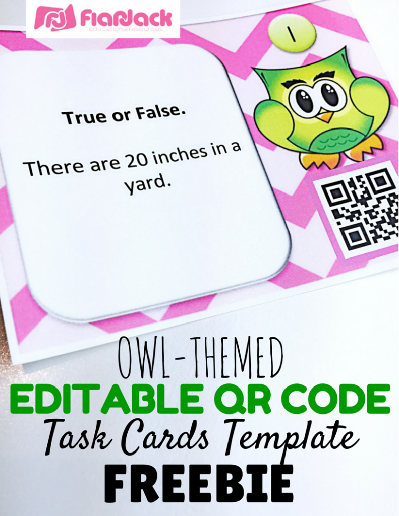 Editable Owl QR Code Task Cards Template FREEBIE