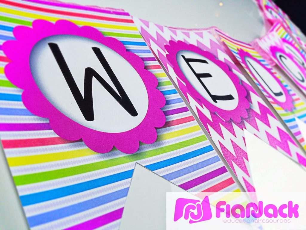 http://bilingualteacherclubhouse.blogspot.com/2014/07/bilingual-neon-welcome-banner-freebie.html