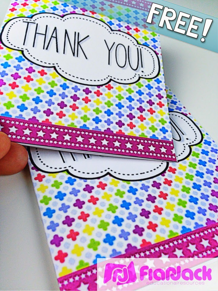 Thank You Gracias Cards FREEBIE and Neon Class Decor Pack