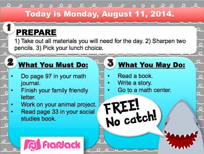 http://www.teacherspayteachers.com/Product/Editable-SHARK-Themed-Morning-Work-PowerPoint-Templates-FREEBIE-1385452