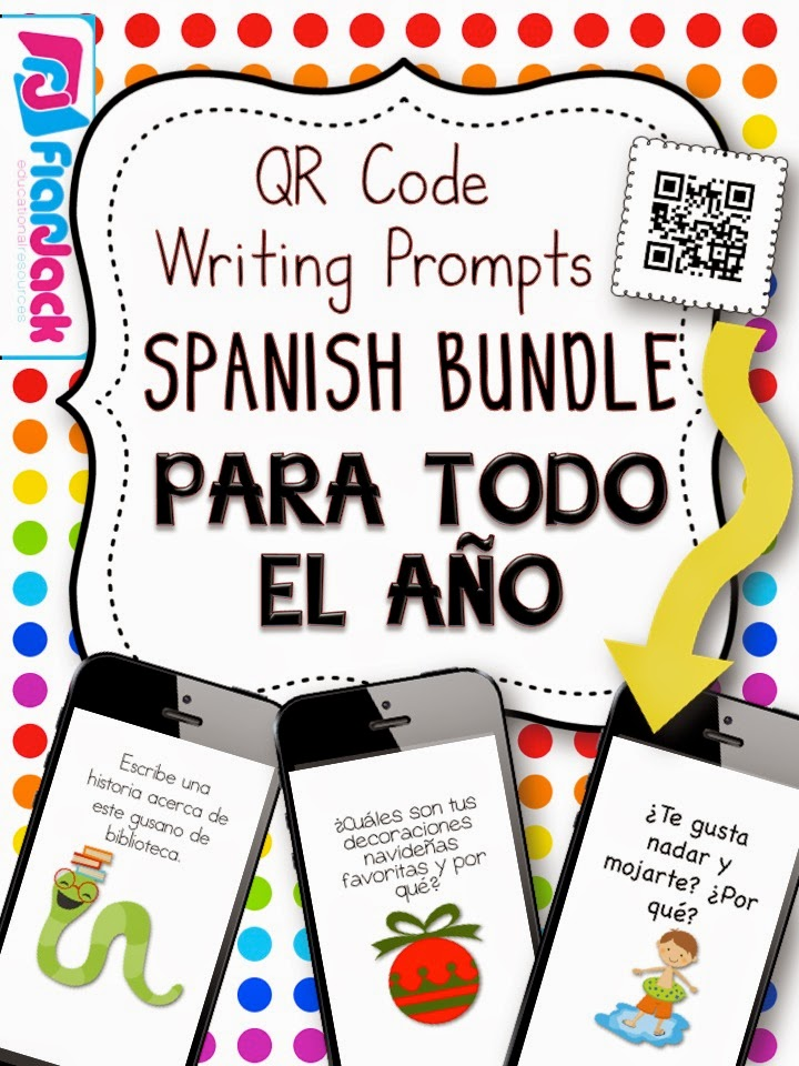 http://www.teacherspayteachers.com/Product/All-Year-Long-SPANISH-QR-Code-Writing-Prompts-Bundle-1348124