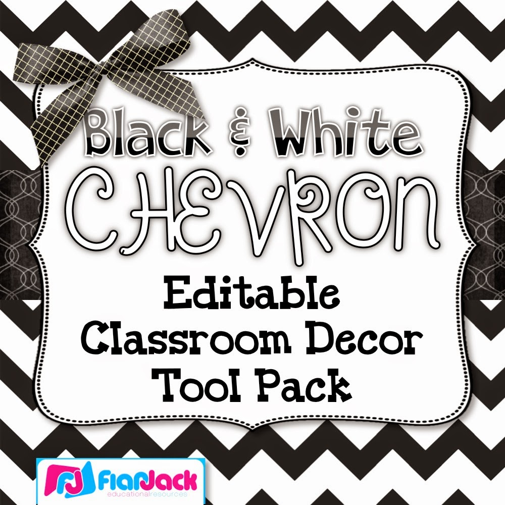 Black and White CHEVRON Editable Classroom Decor Tool Pack – HALF OFF!