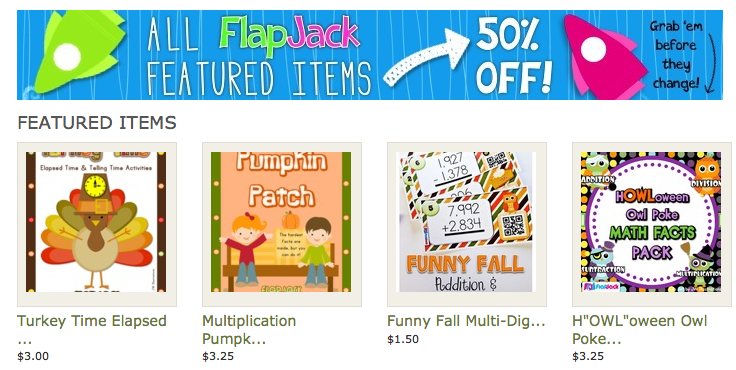 FLASH SALE! FlapJack Fall Featured Resources are 50% OFF!