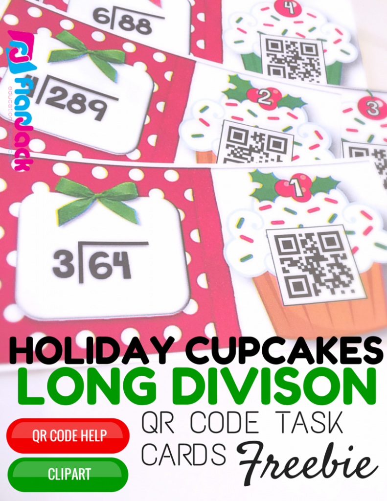 Holiday Cupcakes Long Division QR Code Task Card Freebie