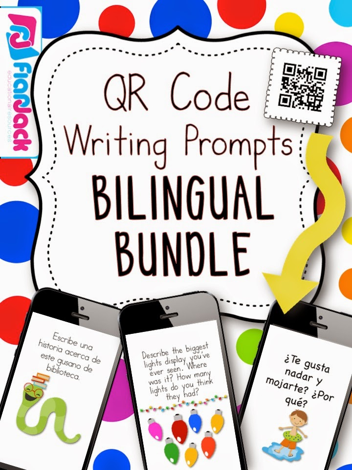 http://www.teacherspayteachers.com/Product/All-Year-Long-BILINGUAL-QR-Code-Writing-Prompts-Bundle-1348196