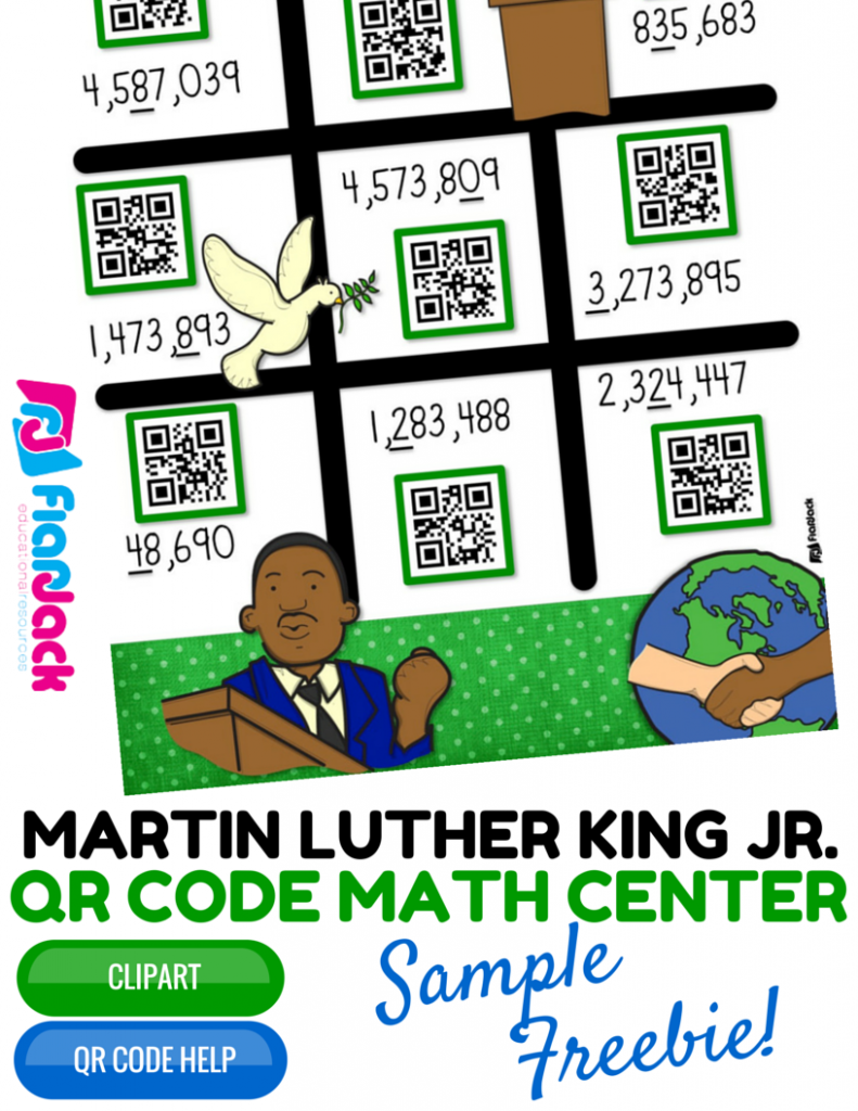 Martin Luther King Jr. Rounding QR Code Center FREEBIE