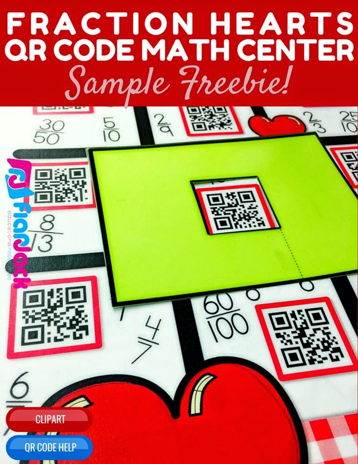 Fraction Hearts QR Code Math Center FREEBIE