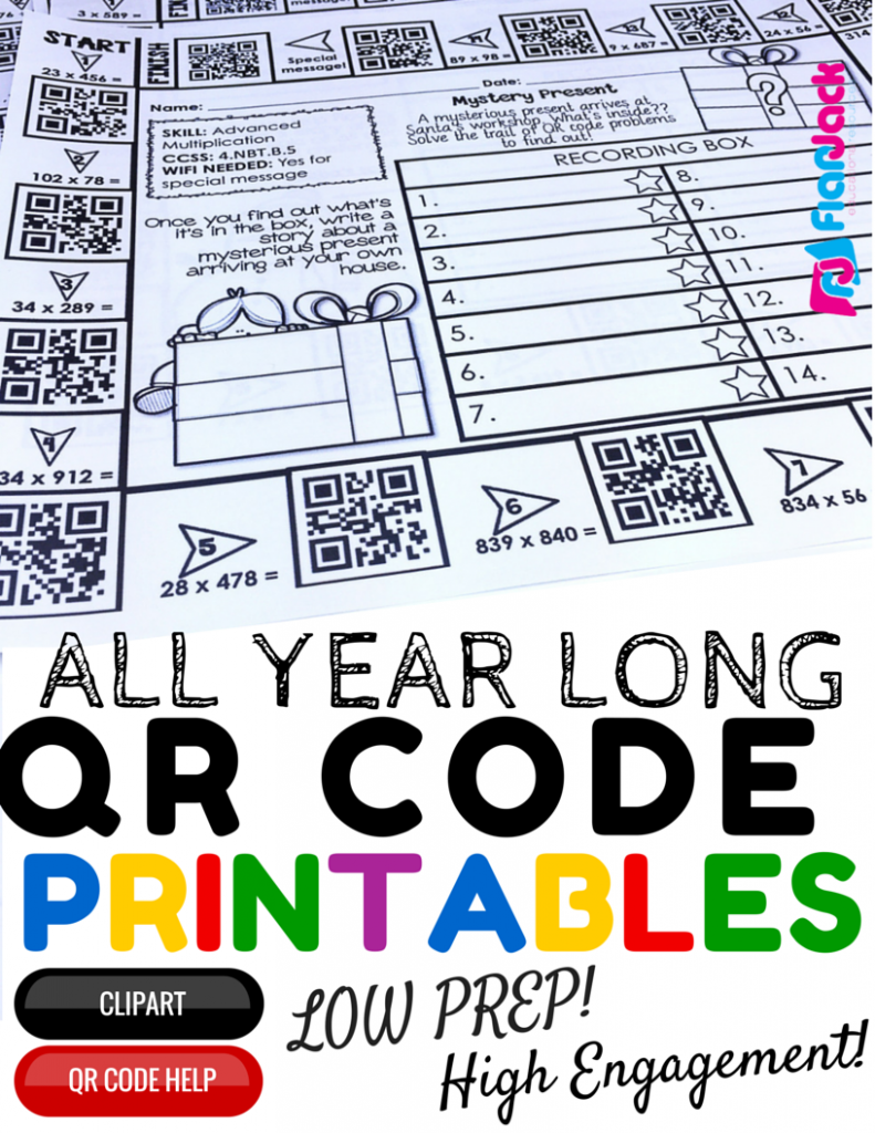 4th Grade All Year Long QR Code Printables - Low Prep!