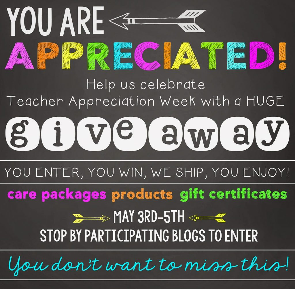 You Are Appreciated Teacher Giveaway!