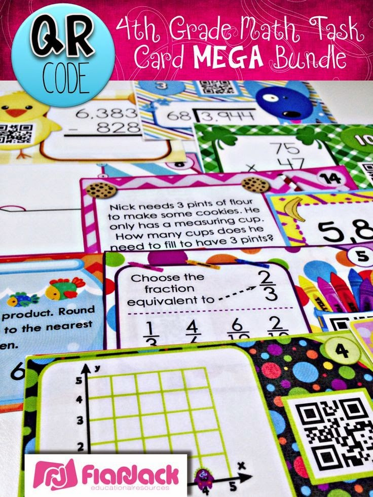4th Grade QR Code Task Cards Mega Bundle