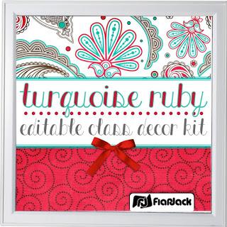 https://www.teacherspayteachers.com/Product/Editable-Turquoise-Ruby-Class-Decor-Kit-1883170