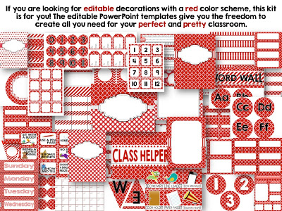 Editable Red Color Scheme Class Decor Kit