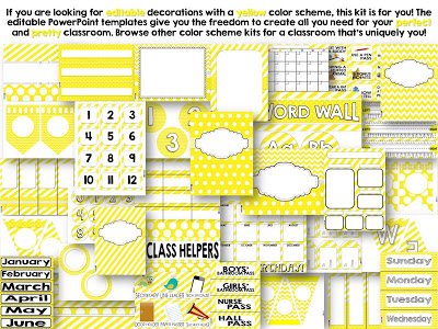 Yellow Color Scheme Class Decor Kit