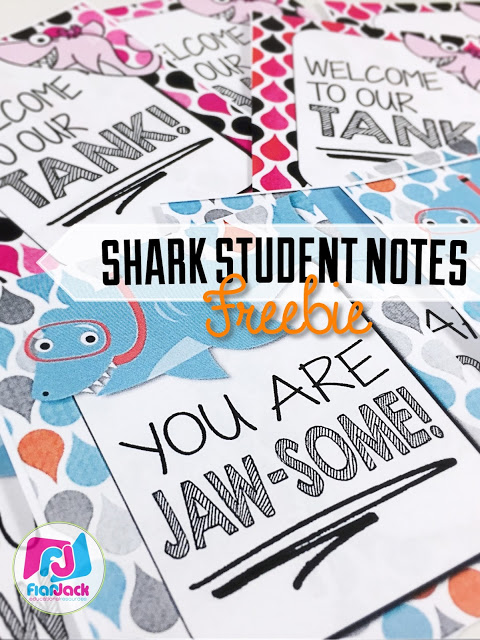 FREE FlapJack Shark Themed Student Message Notes