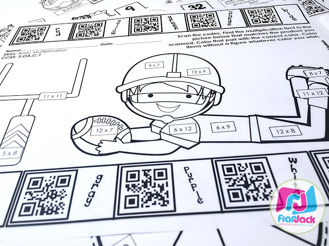 4th Grade October QR Code Printables - Low Prep!