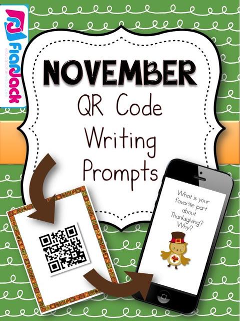 http://www.teacherspayteachers.com/Product/November-QR-Code-Writing-Prompts-1493839