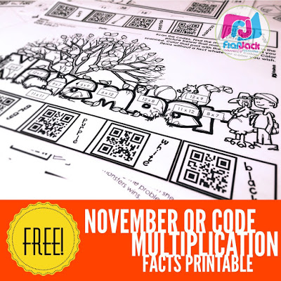 FREE Multiplication Facts Worksheet and November QR Code Printables Posted!