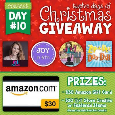 $30 Amazon and Teacher Resources Giveaway with Zip-a-Dee-DooDah Designs!