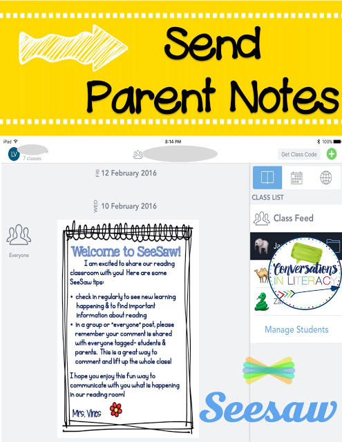 Using Seesaw app for easy parent communication