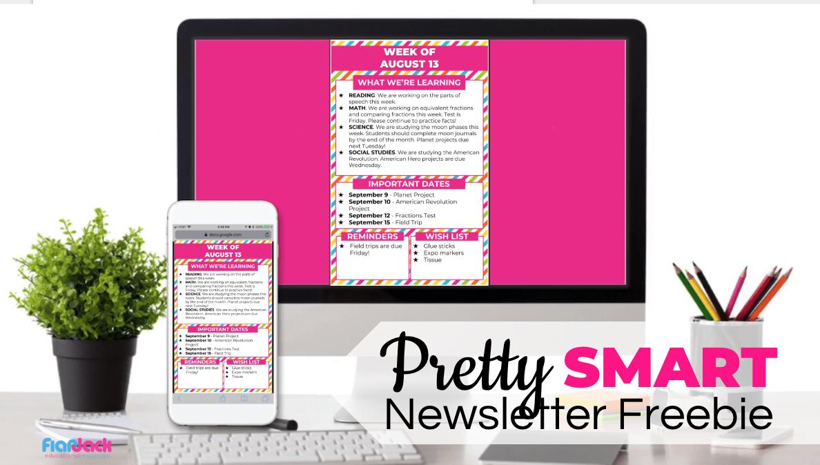 "Free Editable Digital Classroom Newsletter (""Smart"" Style)"
