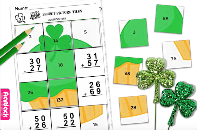 Free Editable St. Patrick's Day Worksheet (Secret Picture Tile Style)